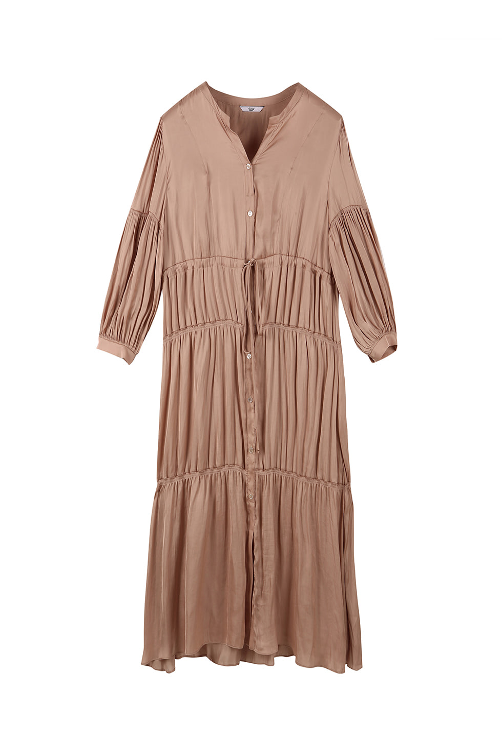 SHIRRING LONG DRESS - BEIGE
