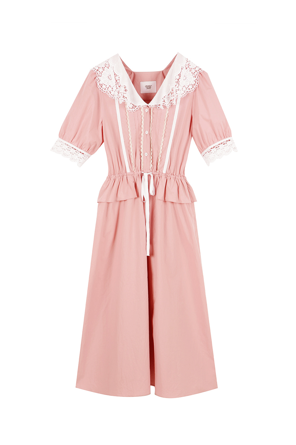 LACE RUFFLE COTTON DRESS - PINK