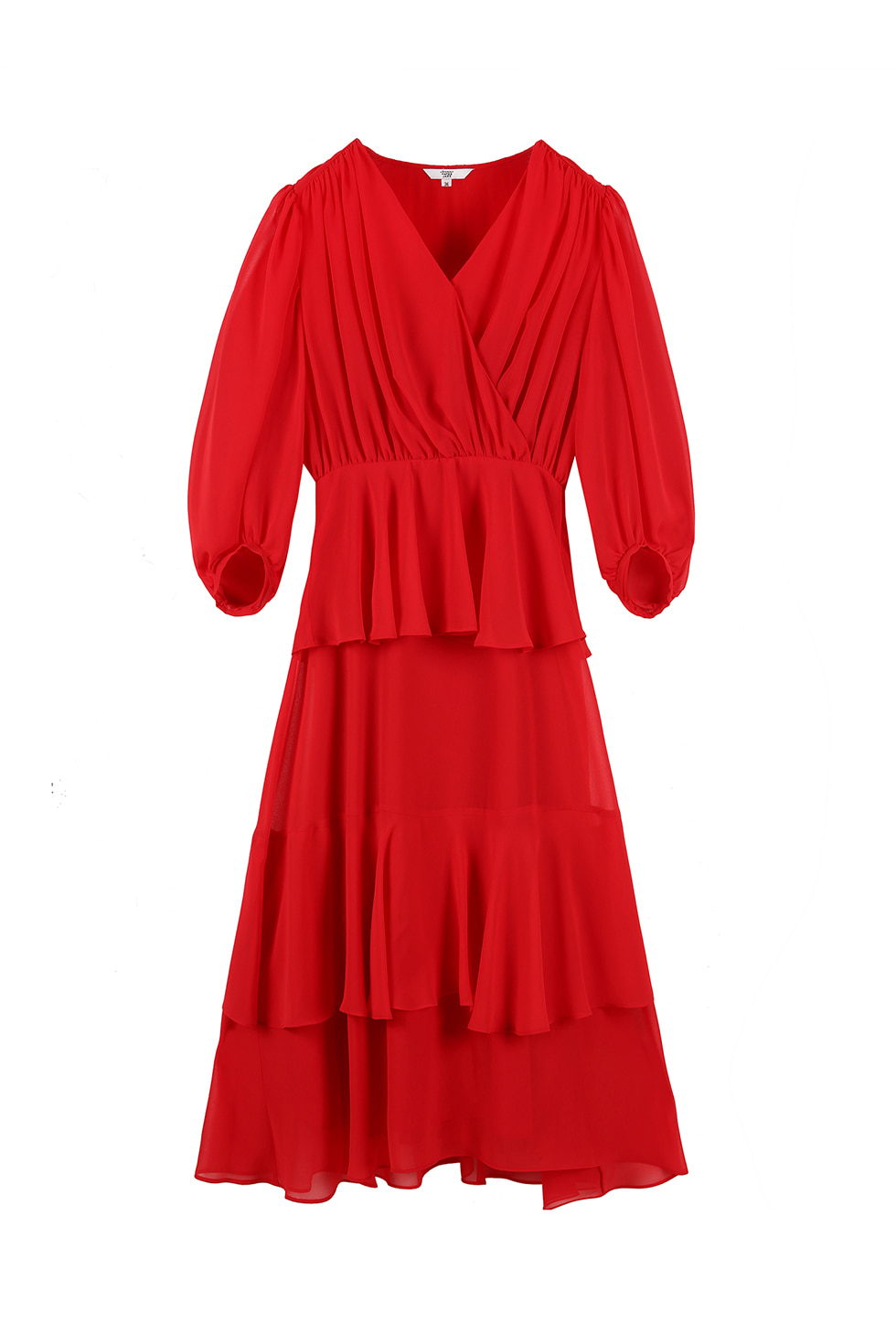 SHIRRING FULL DRESS - RED