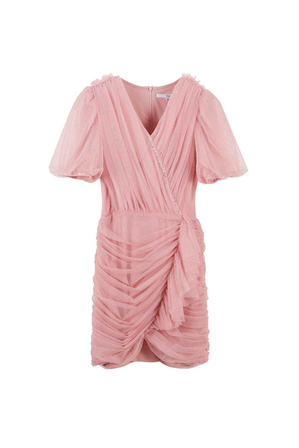 TULLE WRAP MINI DRESS - PINK