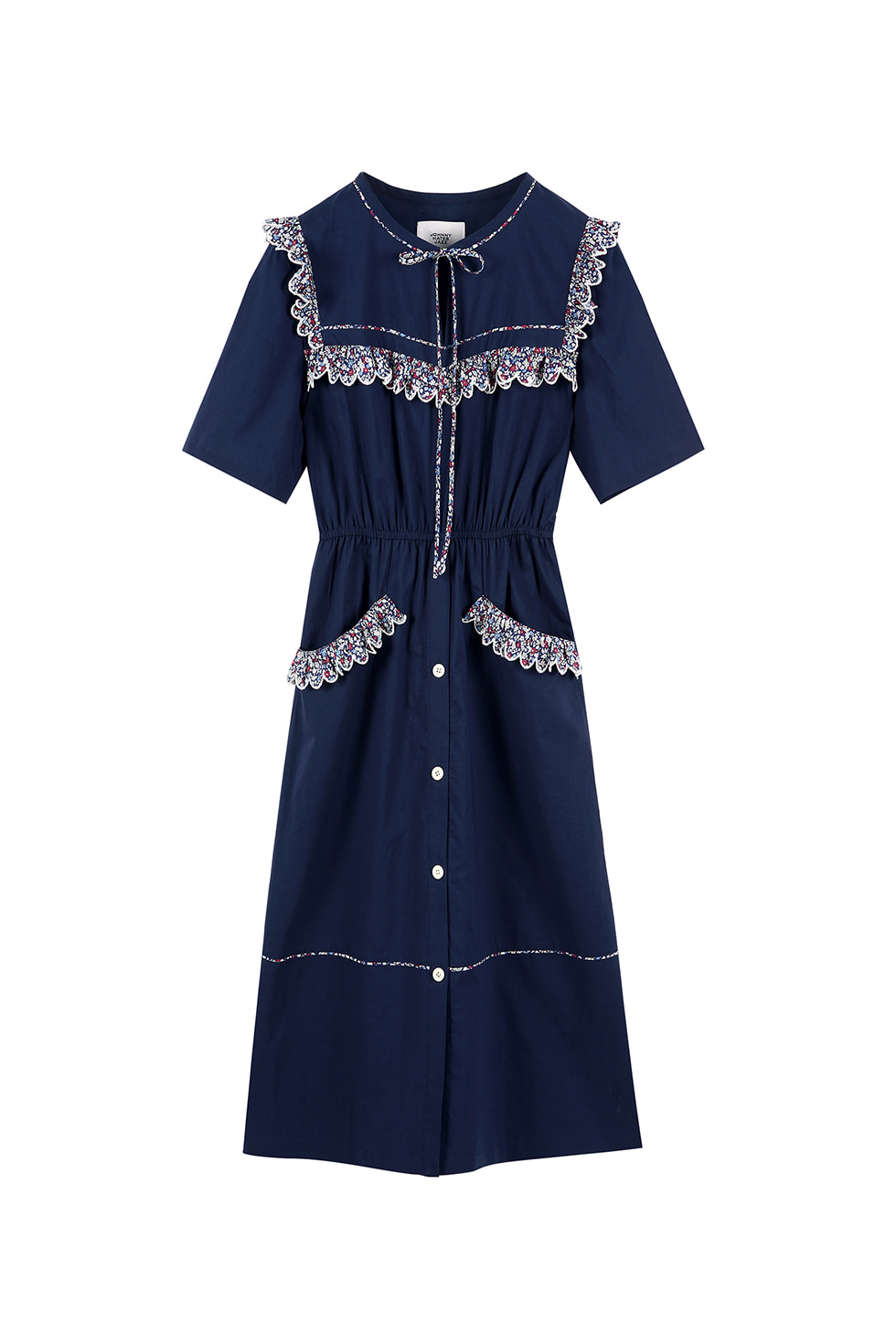 FLORAL COTTON DRESS - NAVY