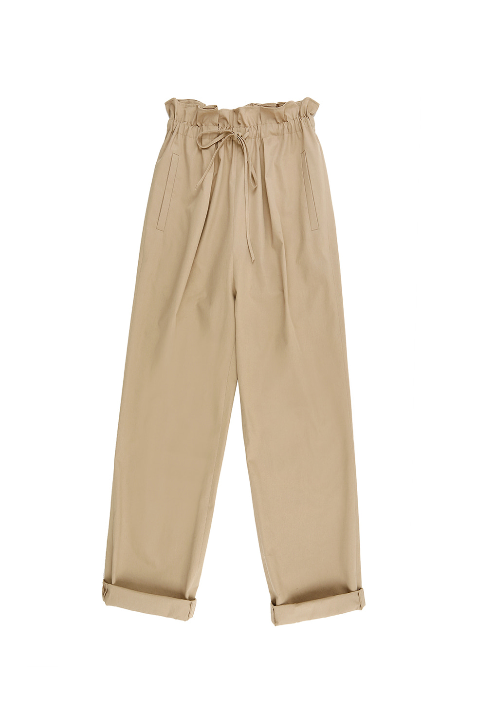 BANDING COTTON PANTS - BEIGE