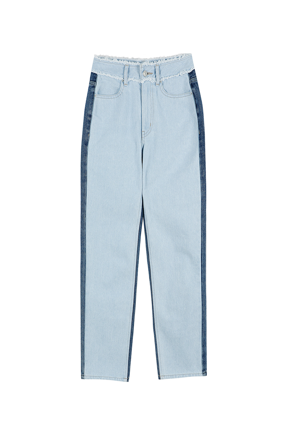 HIGH WAIST TWO-TONE PANTS - BLUE