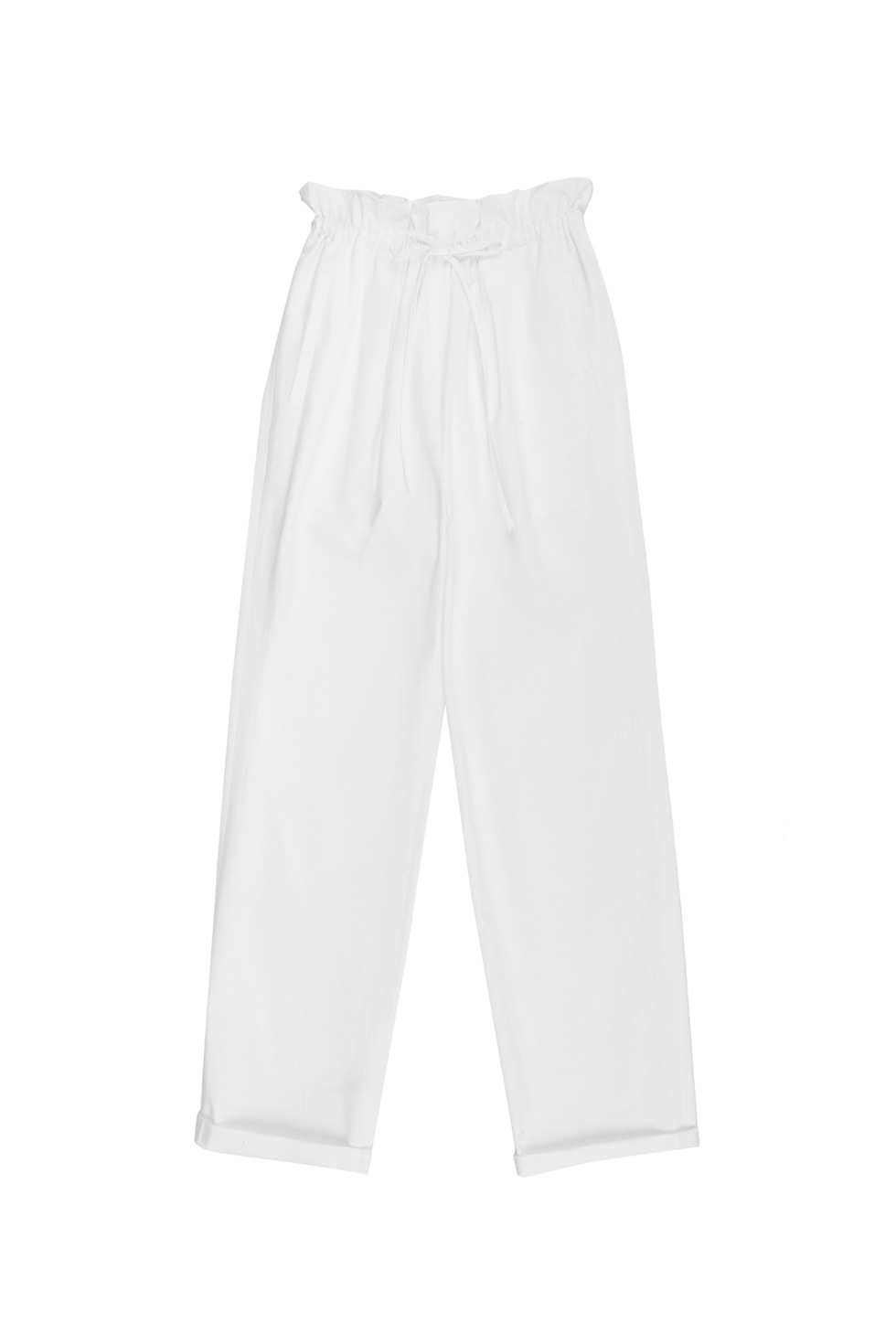 BANDING COTTON PANTS - WHITE