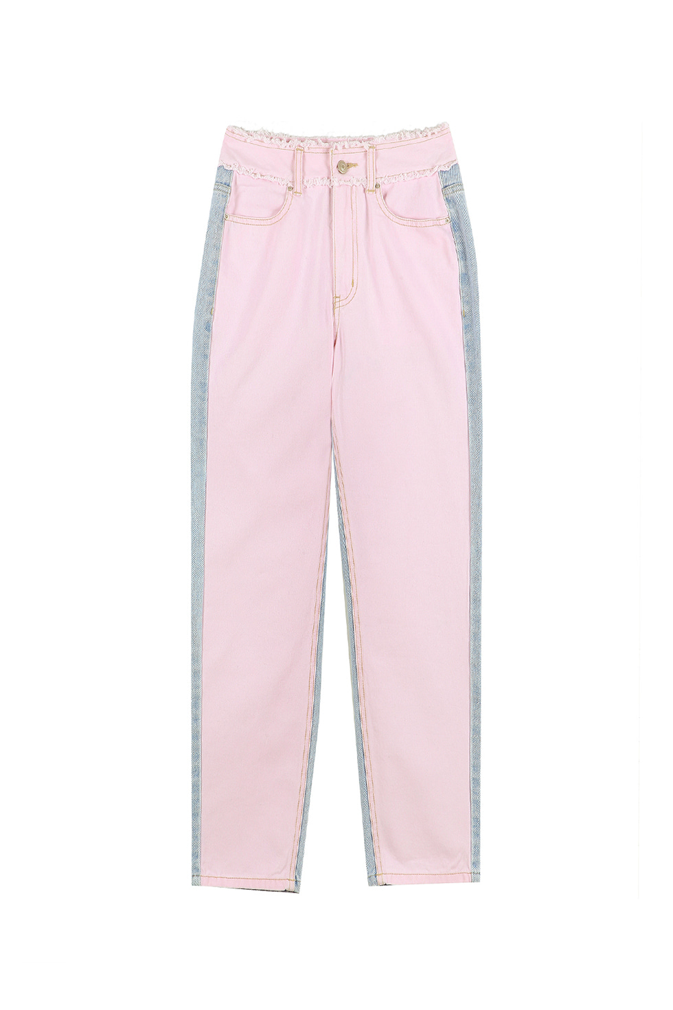 HIGH WAIST TWO-TONE PANTS - PINK