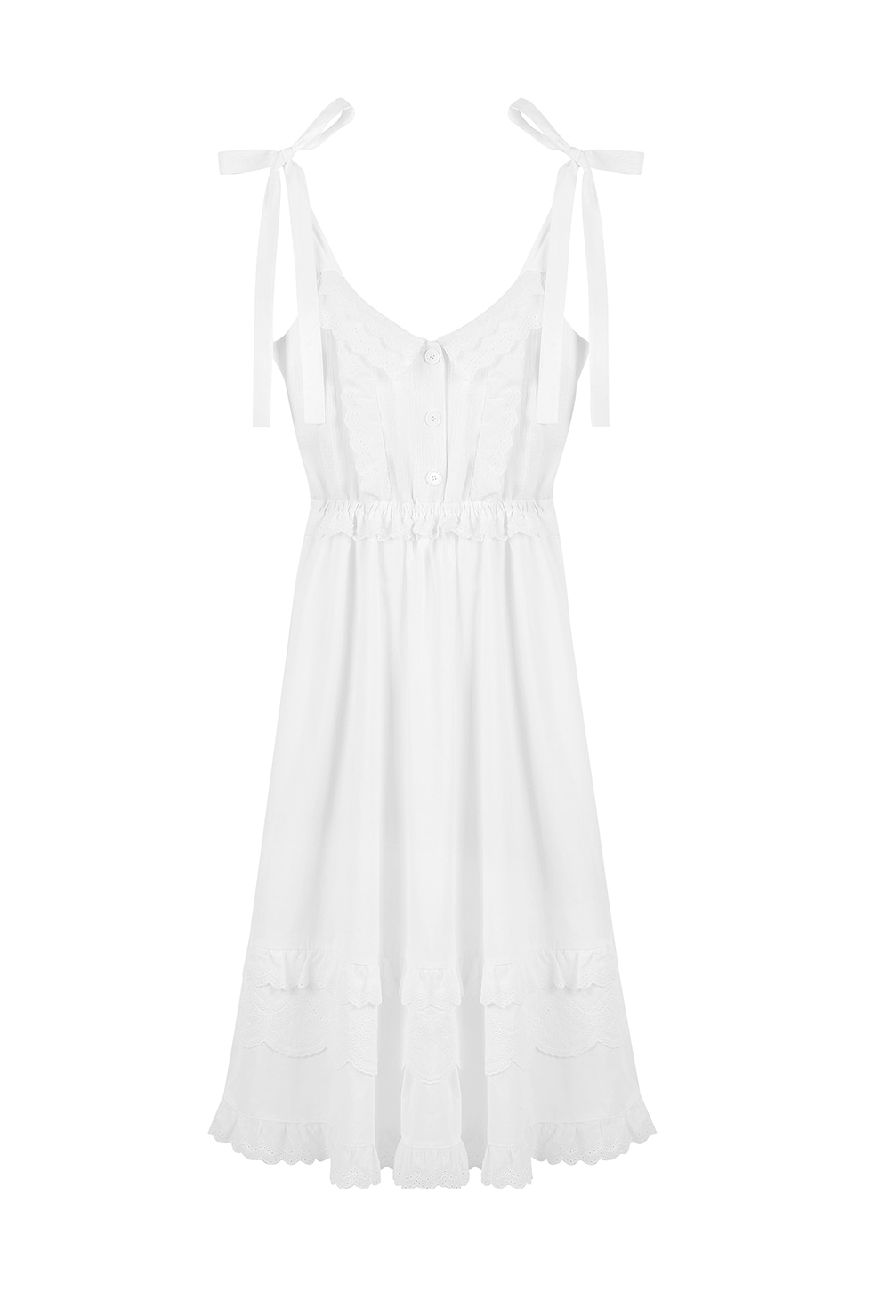 EMBROIDERY SLIP DRESS - WHITE