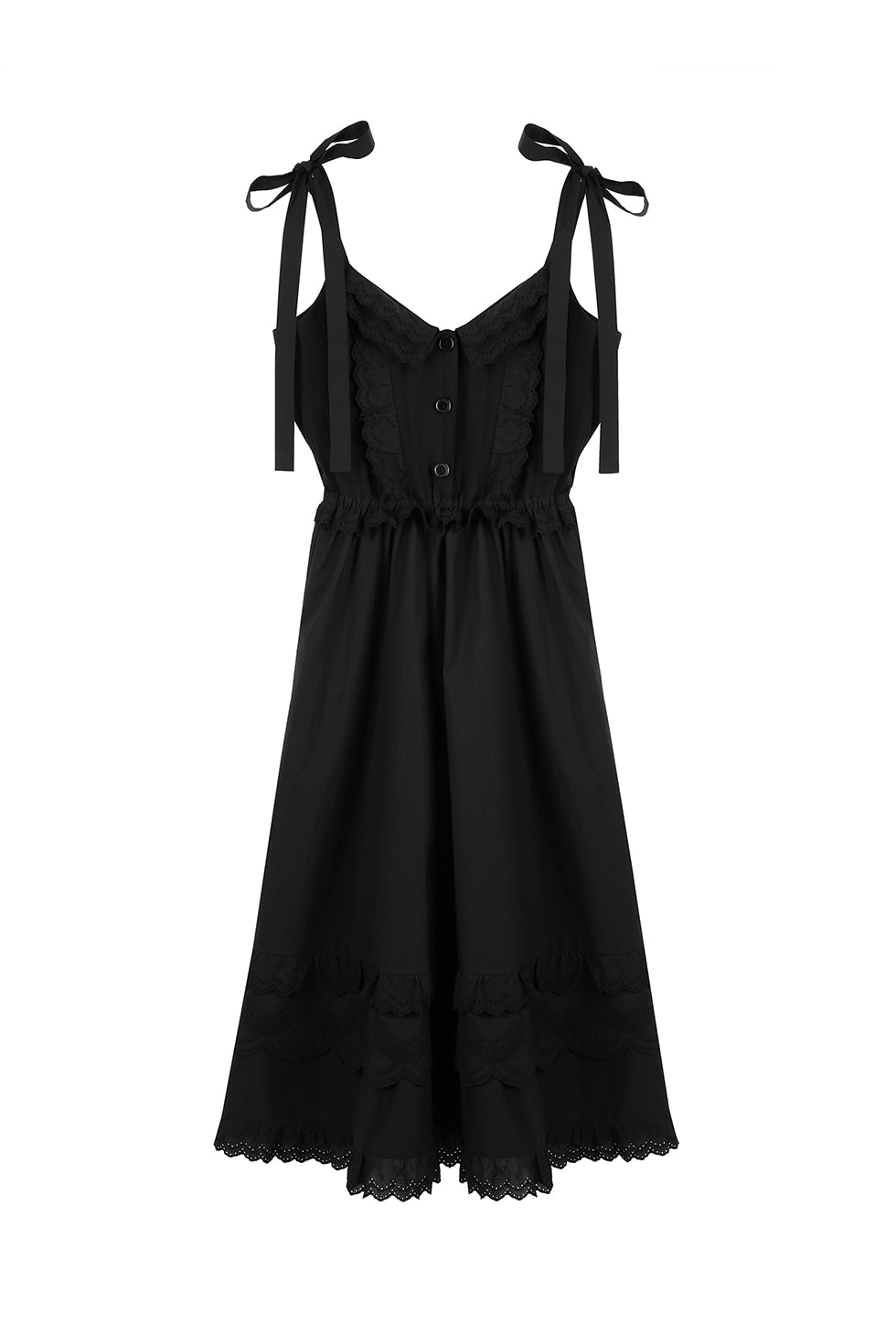 EMBROIDERY SLIP DRESS - BLACK