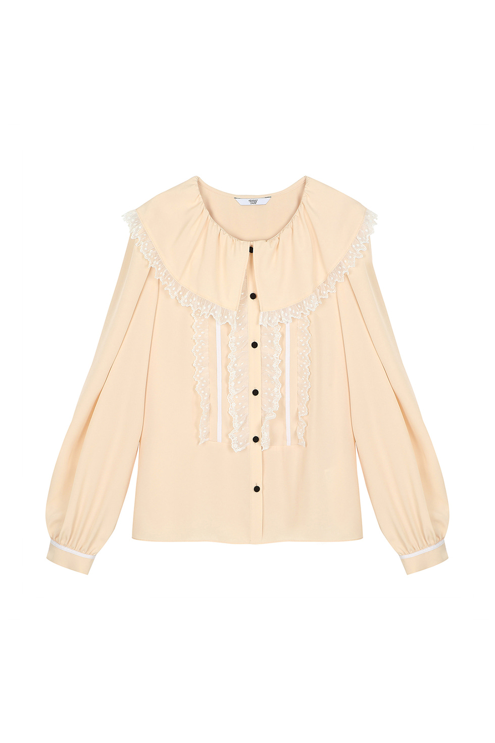 LACE FRILL BLOUSE - BEIGE