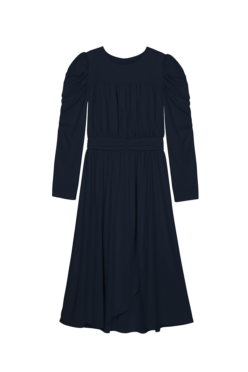 SHIRRING LONG DRESS - NAVY