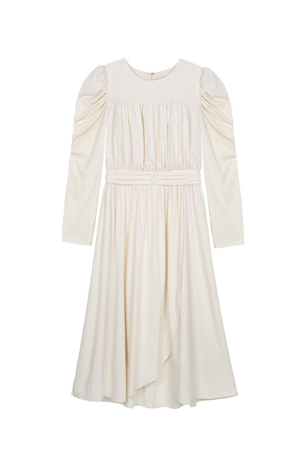 SHIRRING LONG DRESS - IVORY