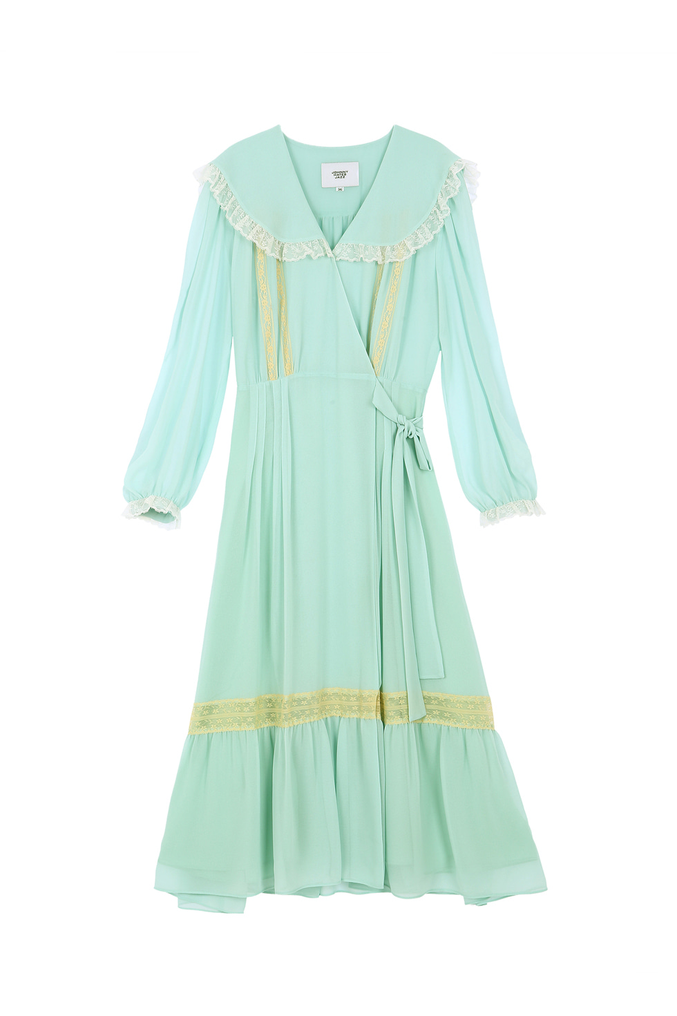LACE CHIFFON DRESS - MINT