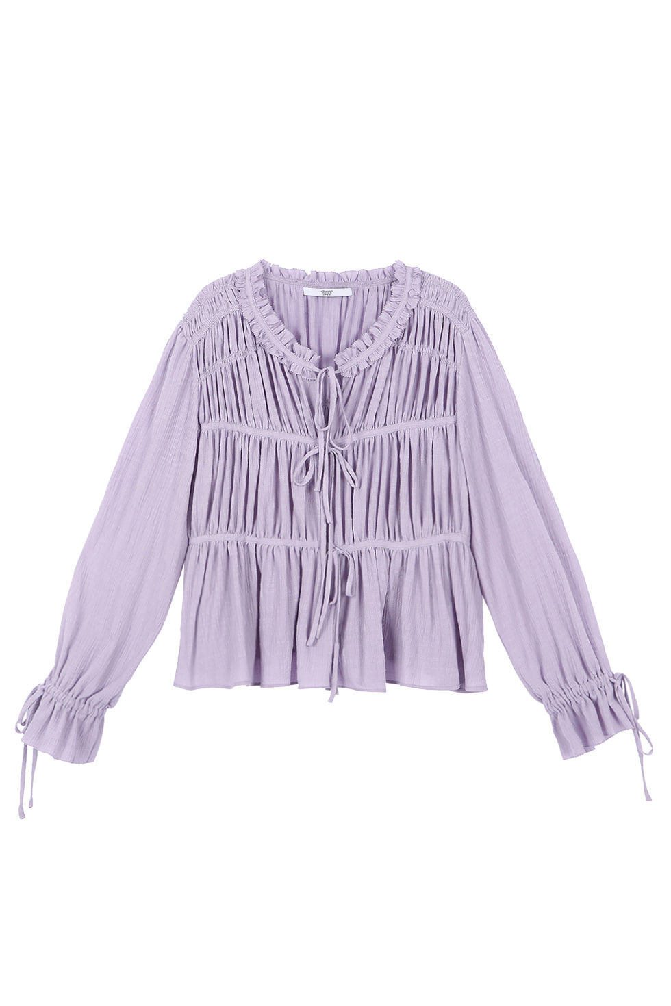 COTTON SHIRRING BLOUSE - PURPLE