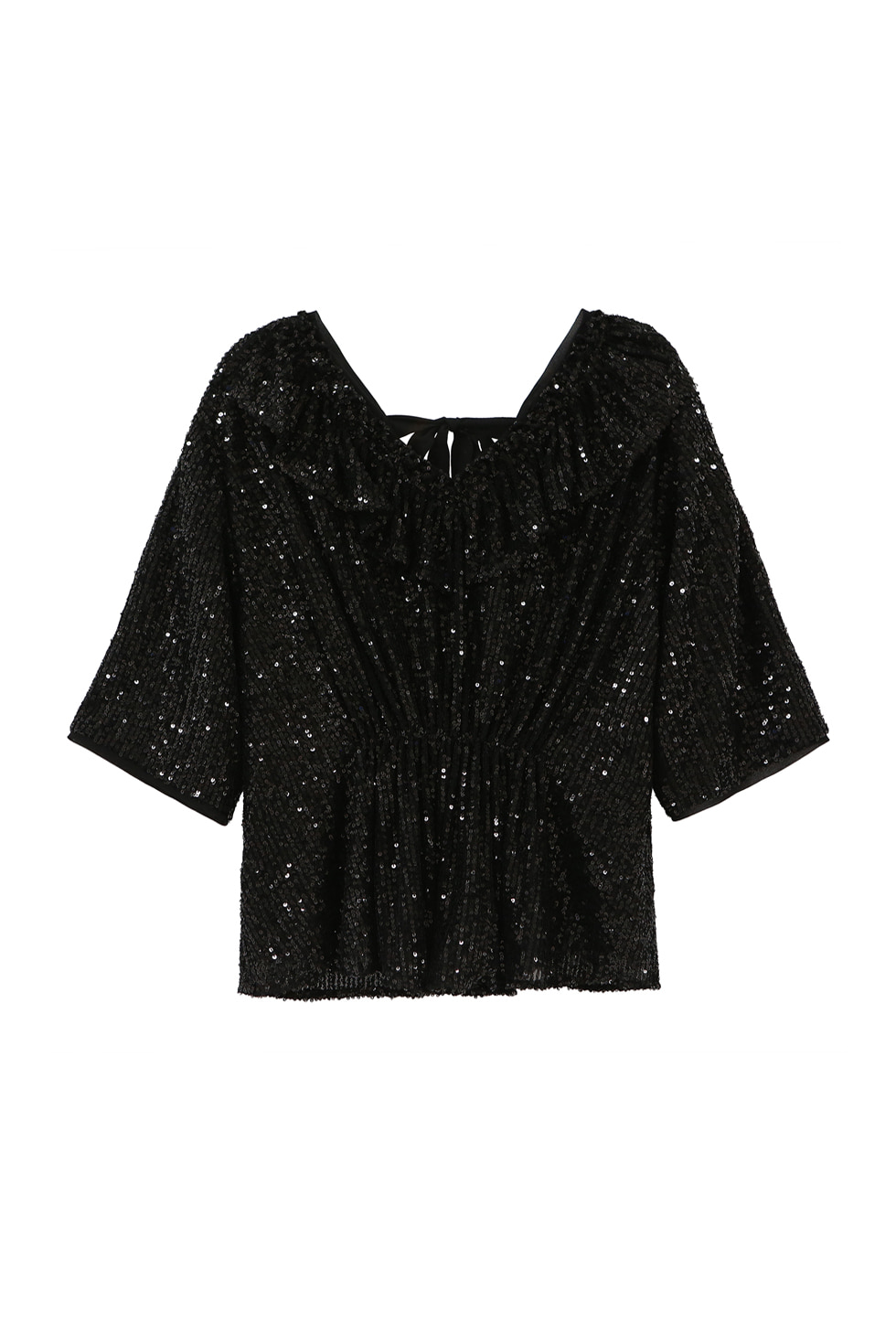 SEQUINED BACK RIBBON BLOUSE - BLACK