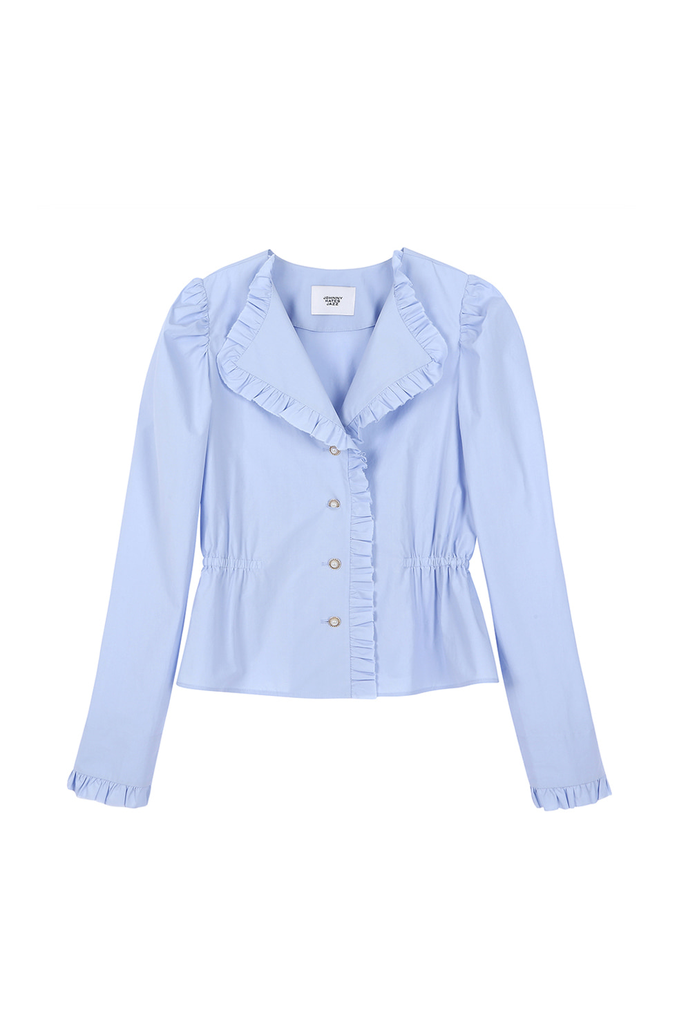 RUFFLED COTTON BLOUSE - BLUE
