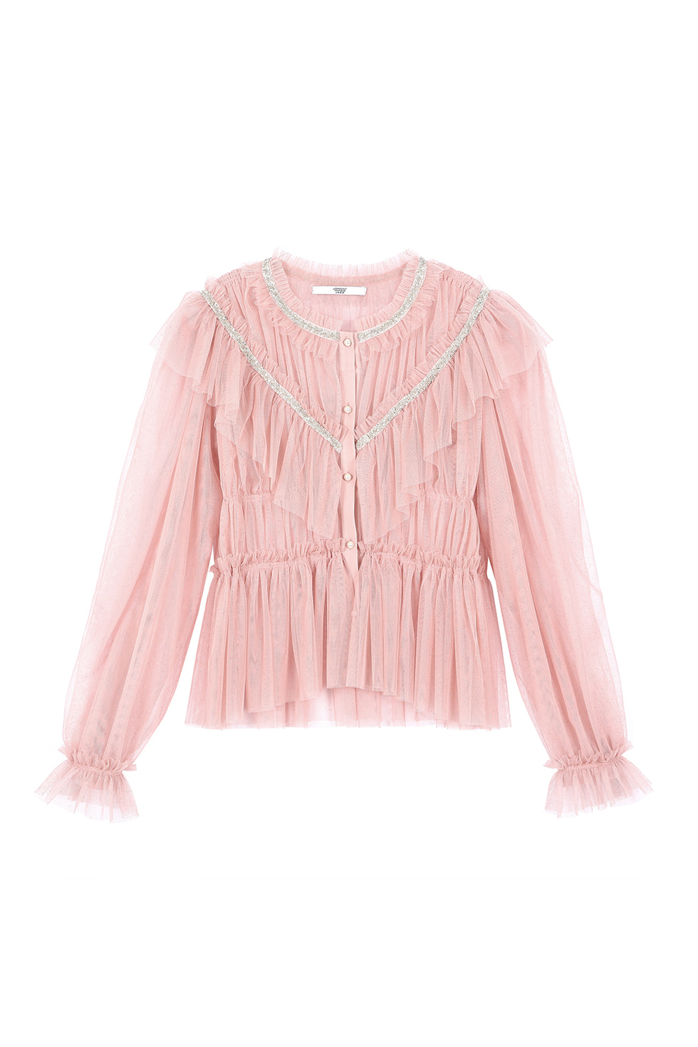 SPANGLE TULLE BLOUSE - PINK