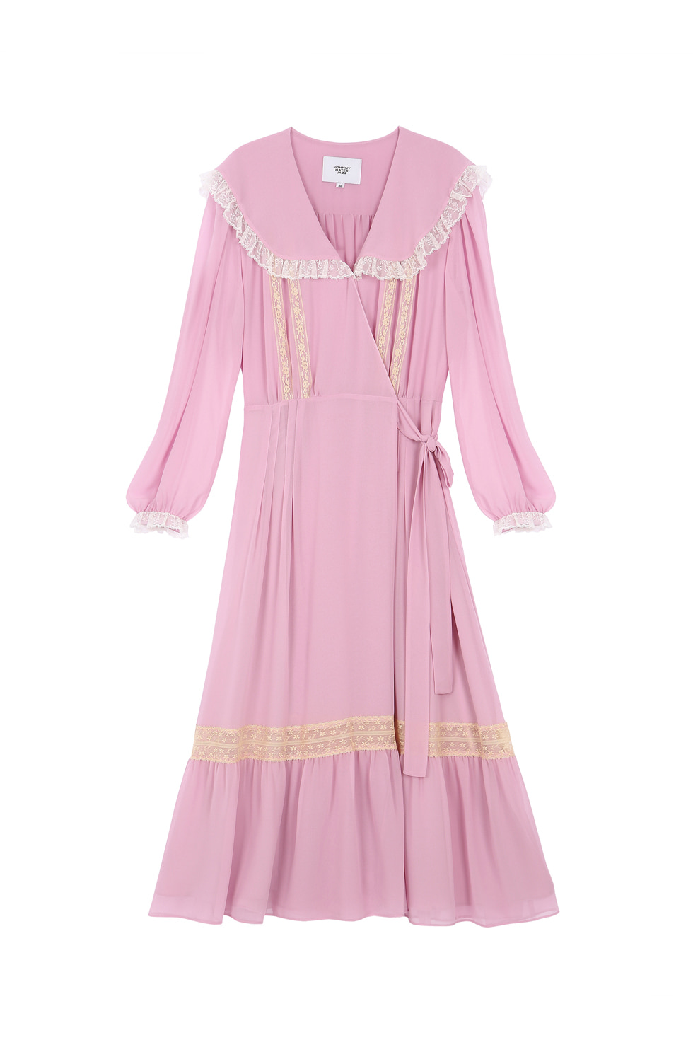 LACE CHIFFON DRESS - PINK