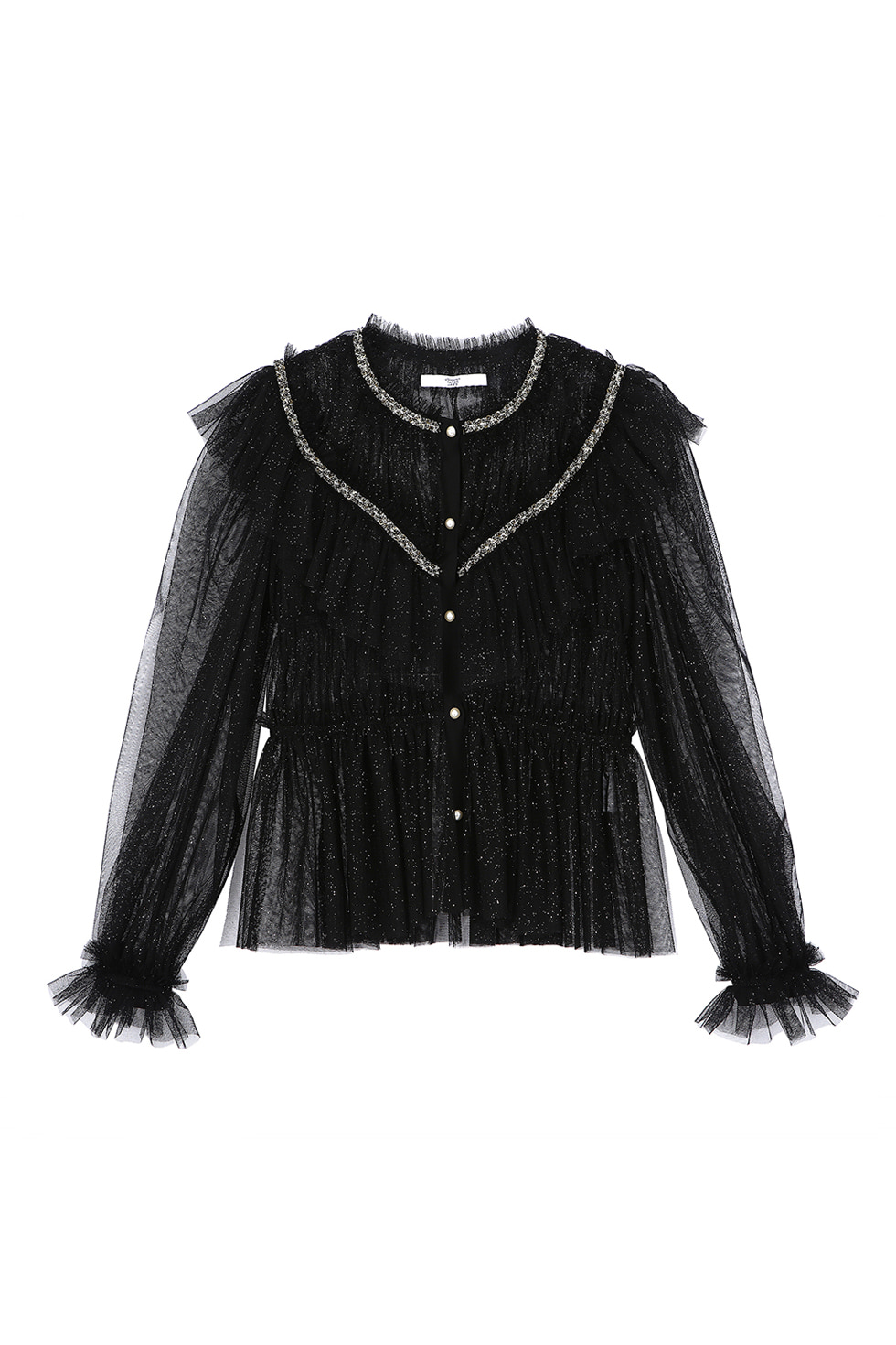 SPANGLE TULLE BLOUSE - BLACK