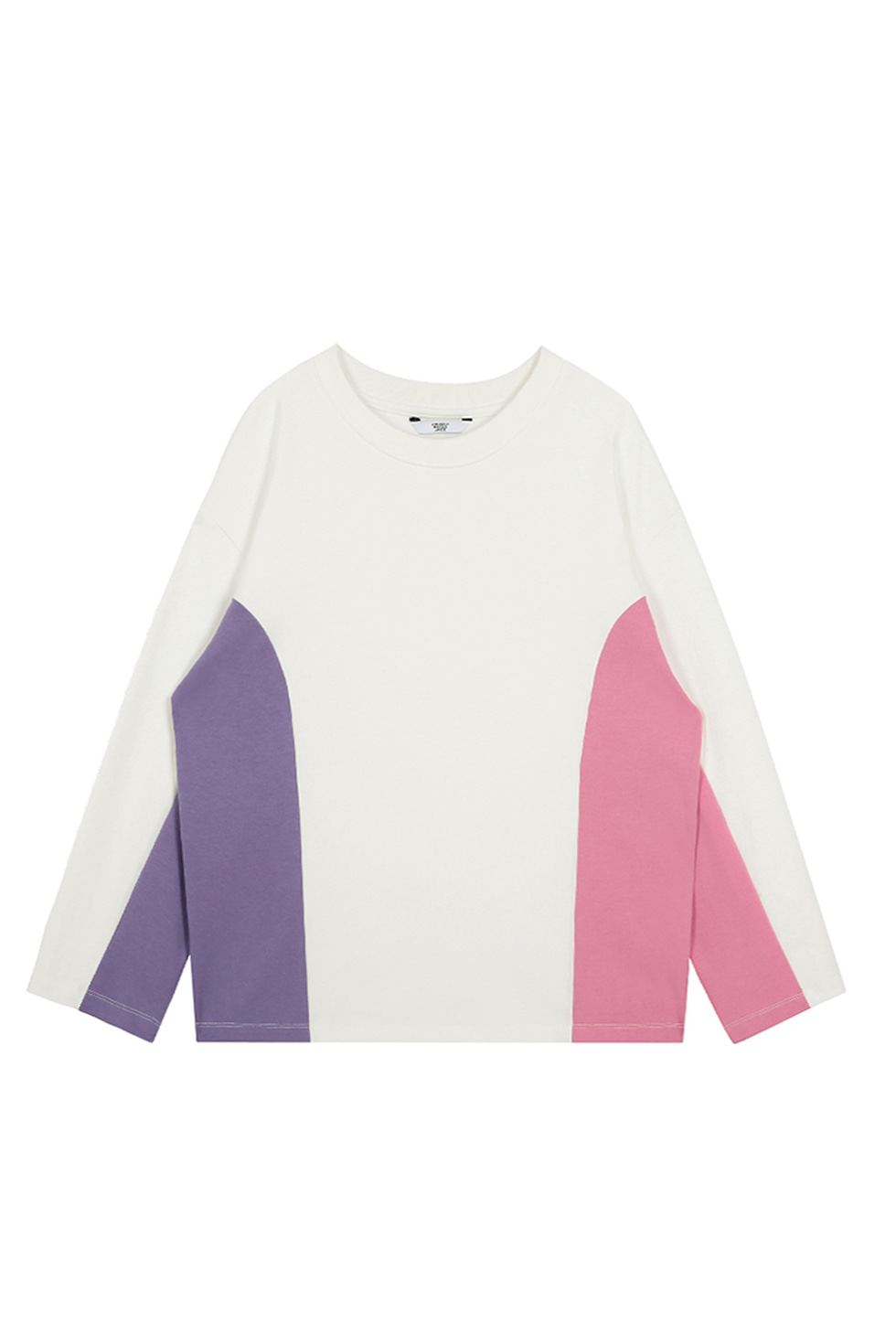 COLOR BLOCK OVERSIZE PULLOVER - WHITE