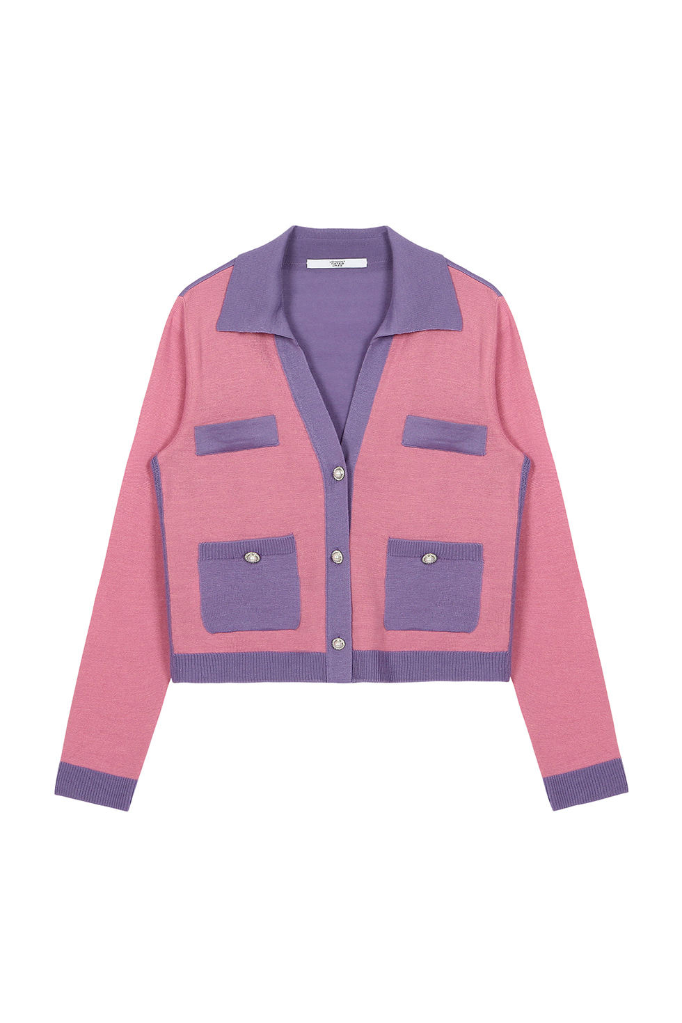 TWO TONE V CARDIGAN - PINK