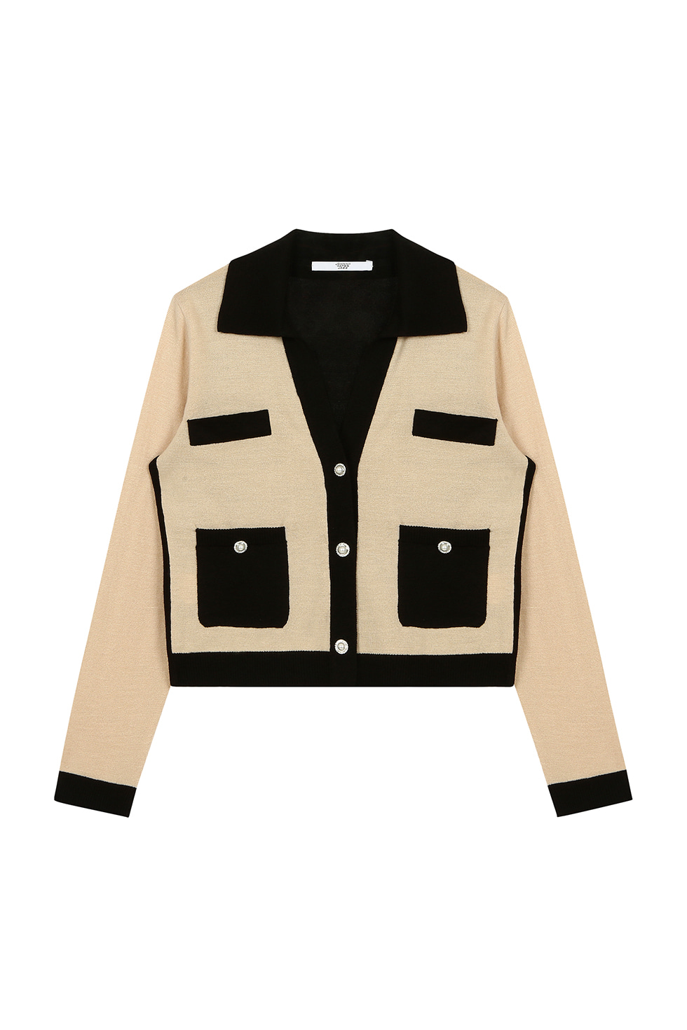 TWO TONE V CARDIGAN - BEIGE