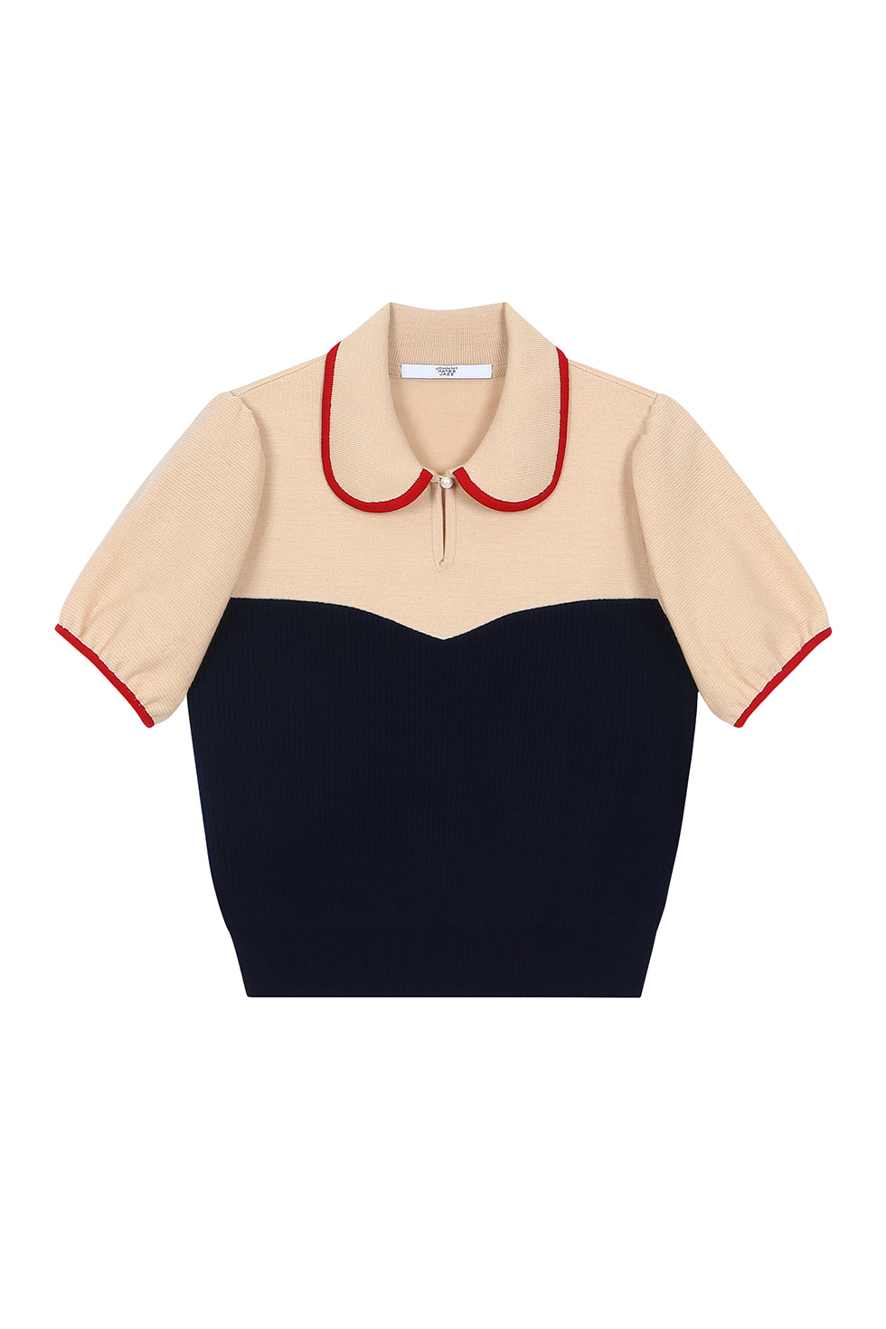 PUFF SLEEVES KNIT TOP - NAVY