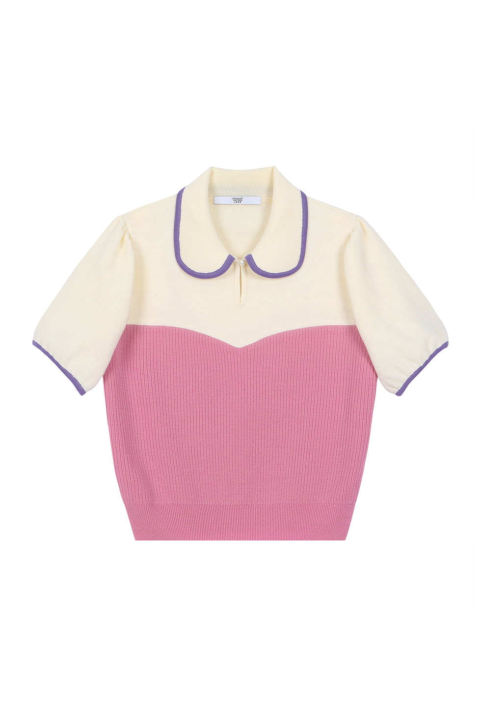 PUFF SLEEVES KNIT TOP - PINK