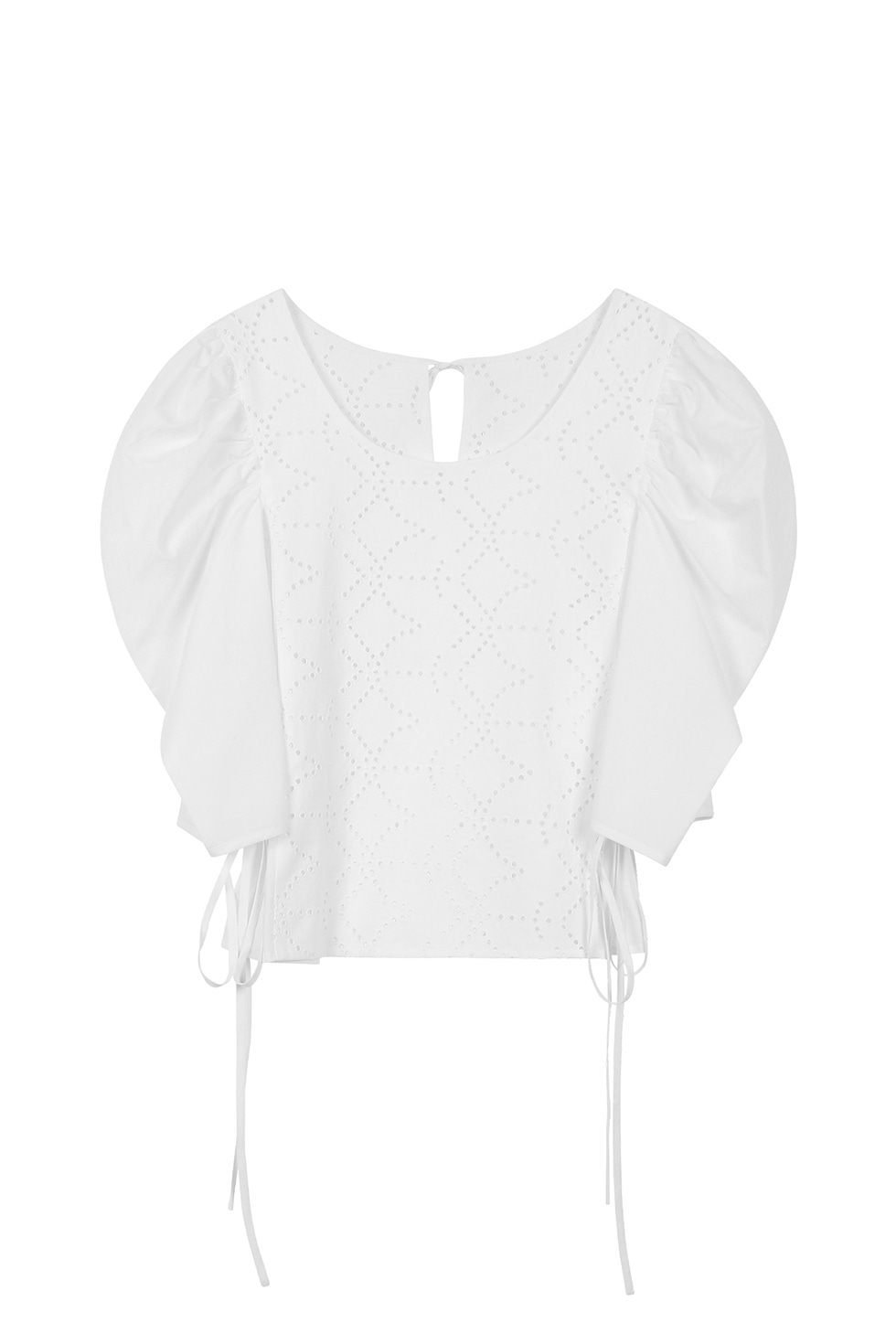 BIG PUFF COTTON BLOUSE - WHITE
