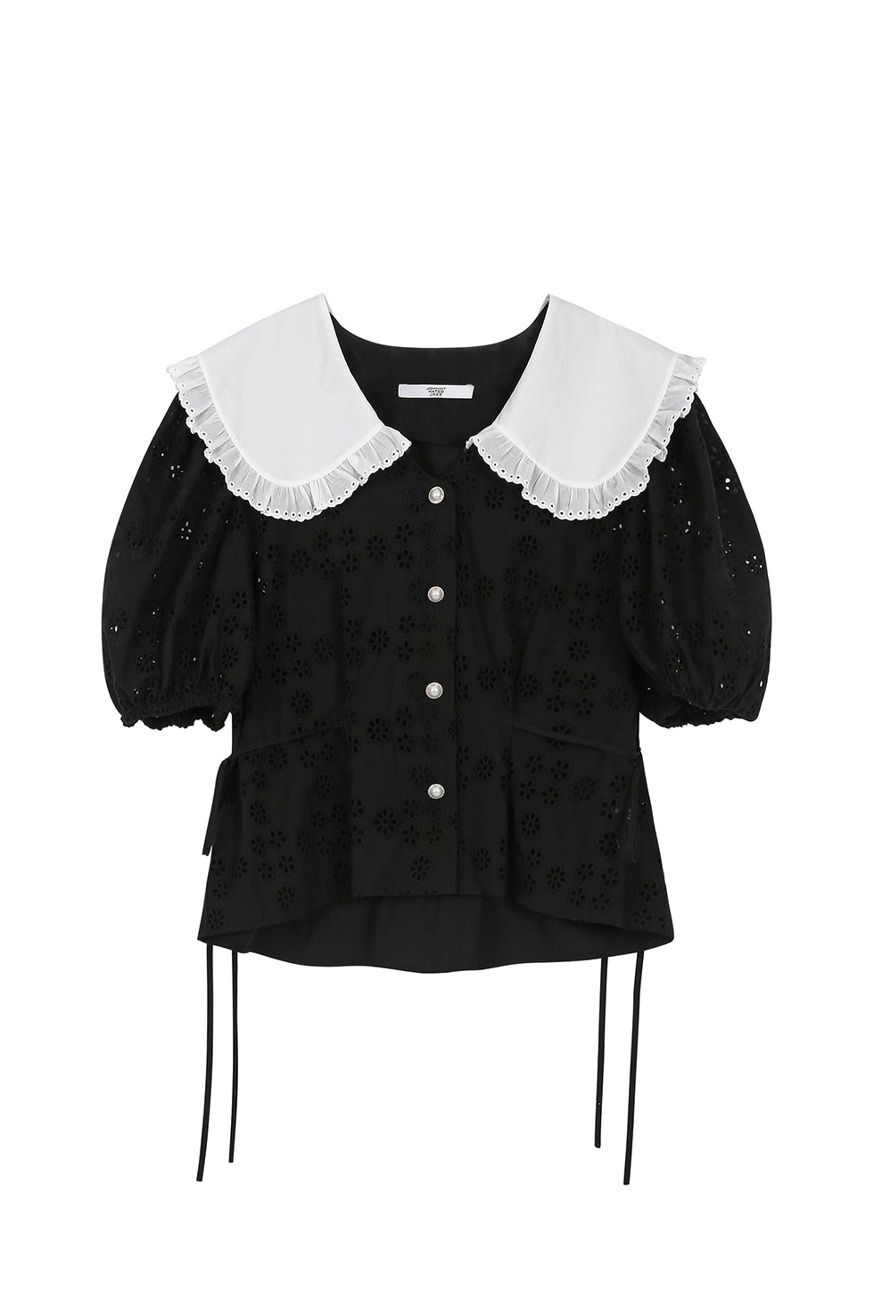 BIG PUFF BROIDERY BLOUSE - BLACK