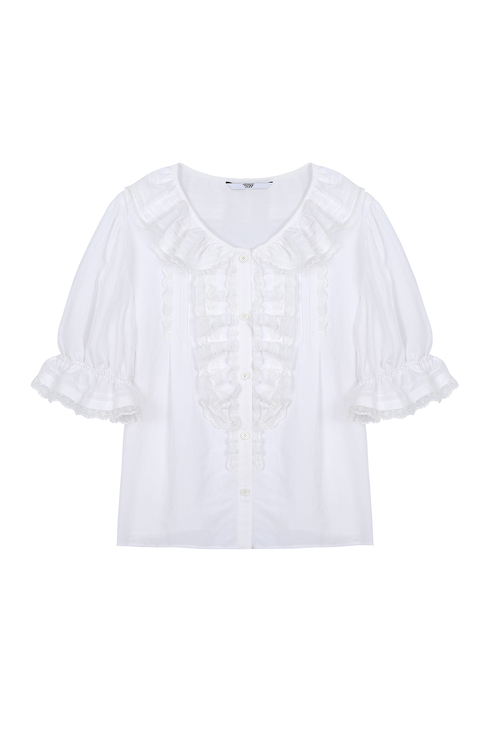 LACE TUCK COTTON BLOUSE - WHITE