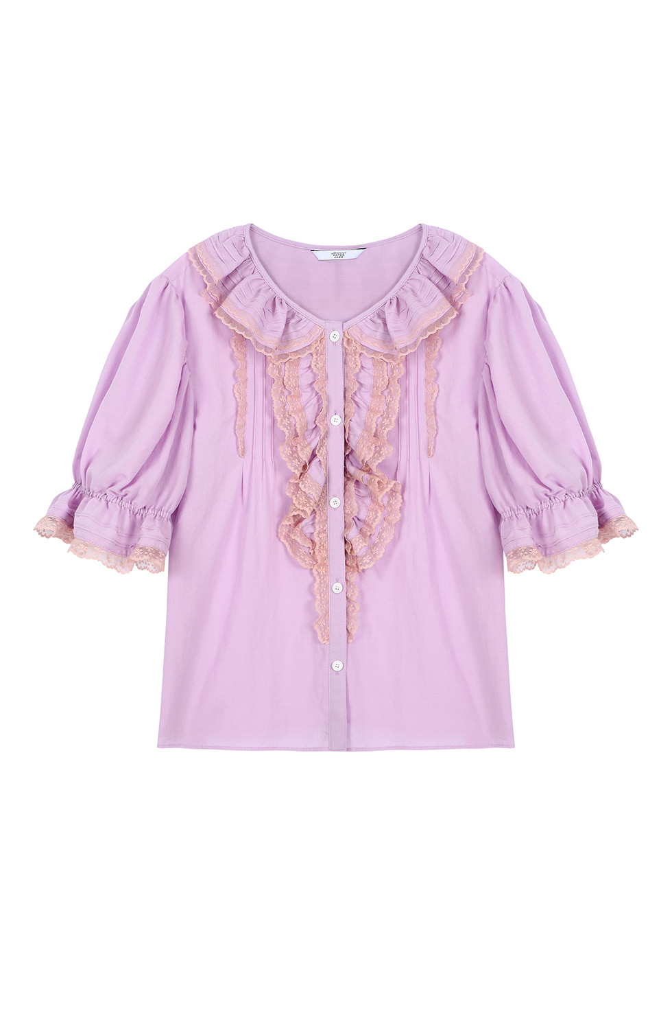 LACE TUCK COTTON BLOUSE - PURPLE