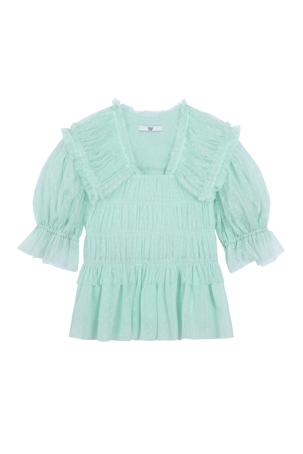 SHIRRING TULLE BLOUSE - MINT