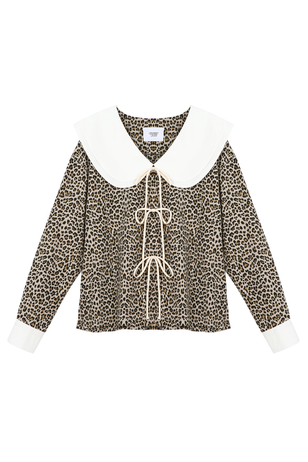 BIG COLLAR LEOPARD BLOUSE - LEOPARD
