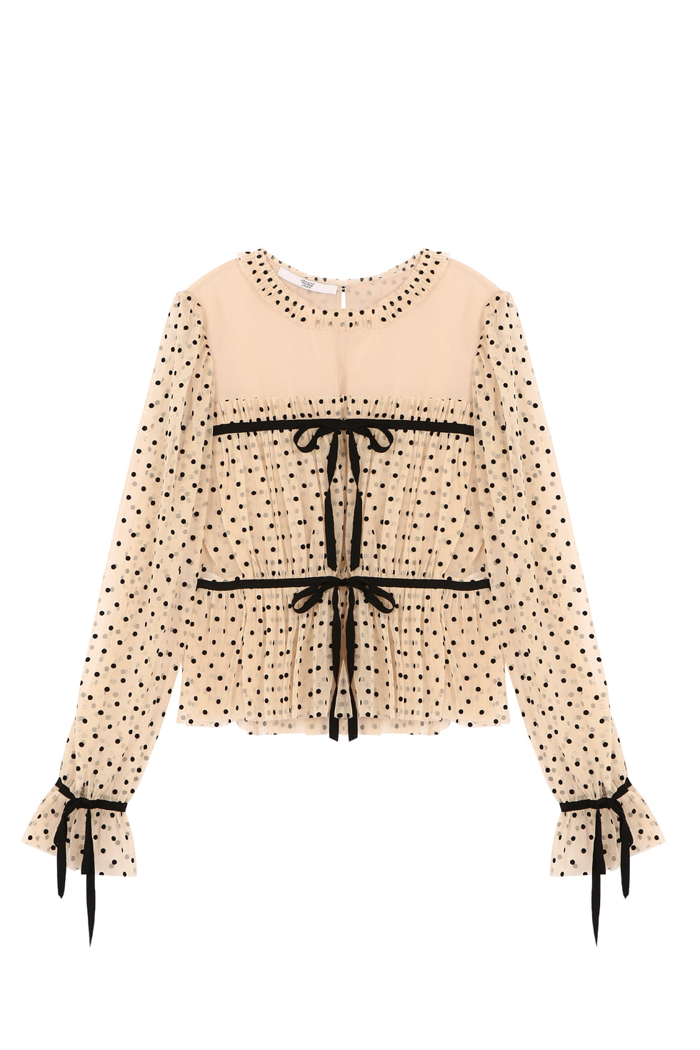 DOT TULLE BLOUSE - BEIGE