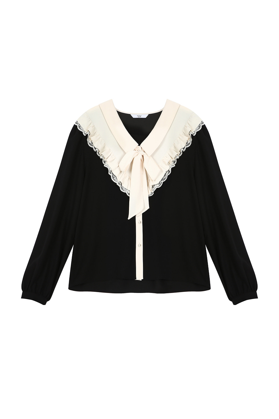 RIBBON TIE BLOUSE - BLACK