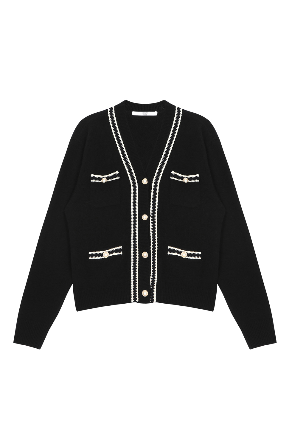 PEARL BUTTON CARDIGAN - BLACK
