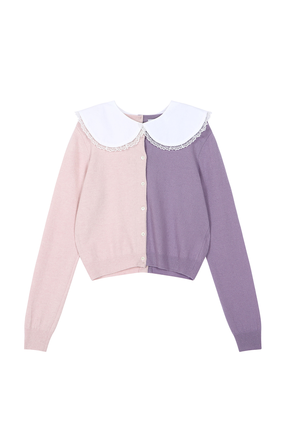 COTTON COLLAR CARDIGAN - PINK