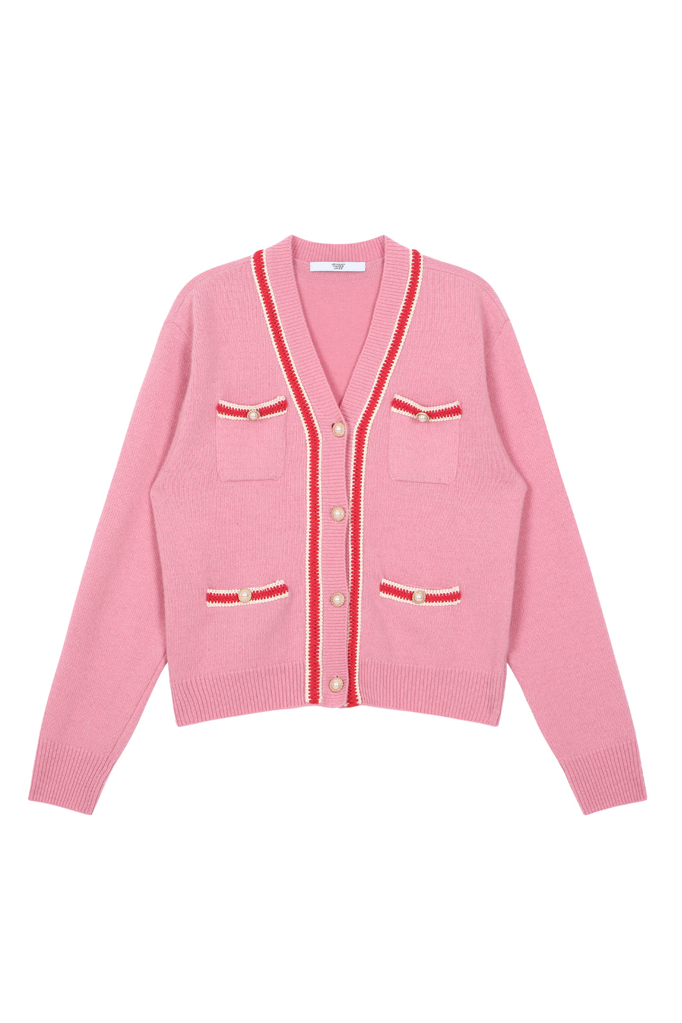 PEARL BUTTON CARDIGAN - PINK
