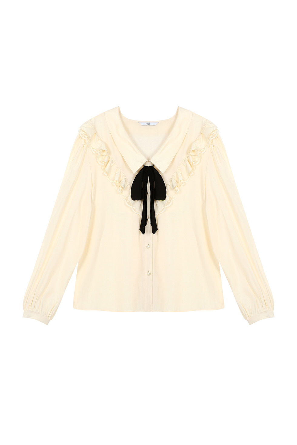 RIBBON TIE BLOUSE - IVORY