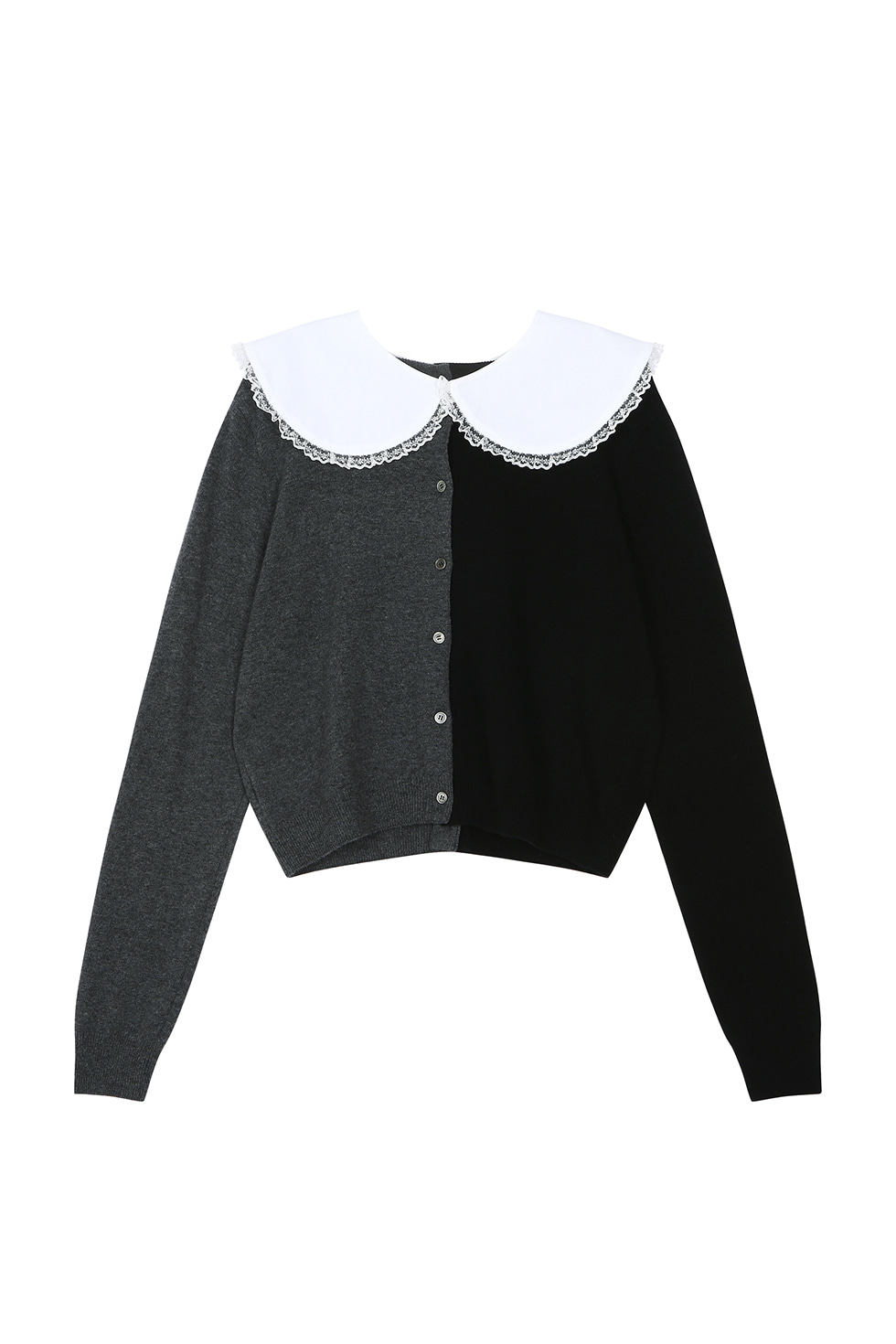 COTTON COLLAR CARDIGAN - BLACK