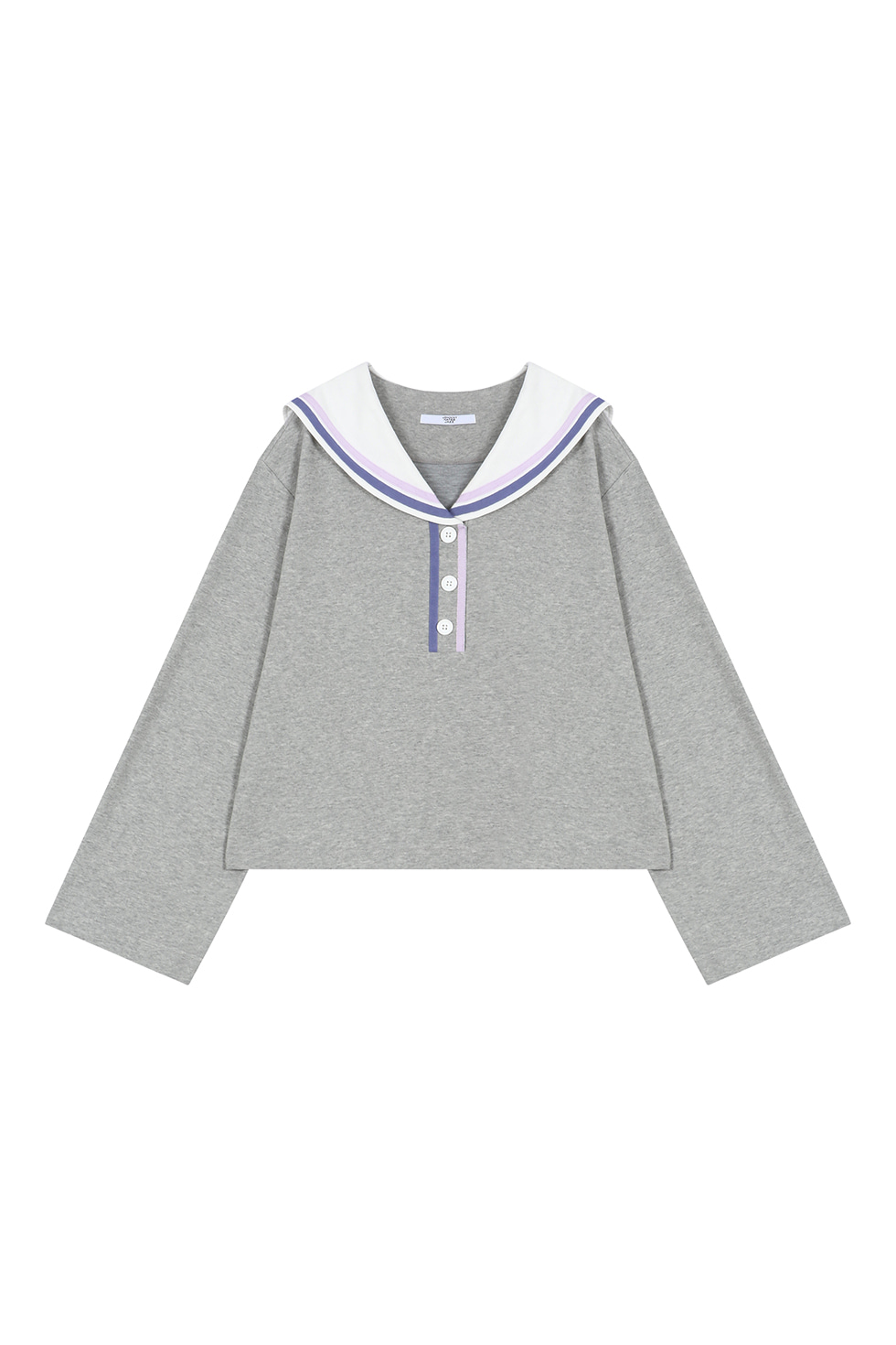 RIBBON SAILOR COLLAR PULLOVER - GREY