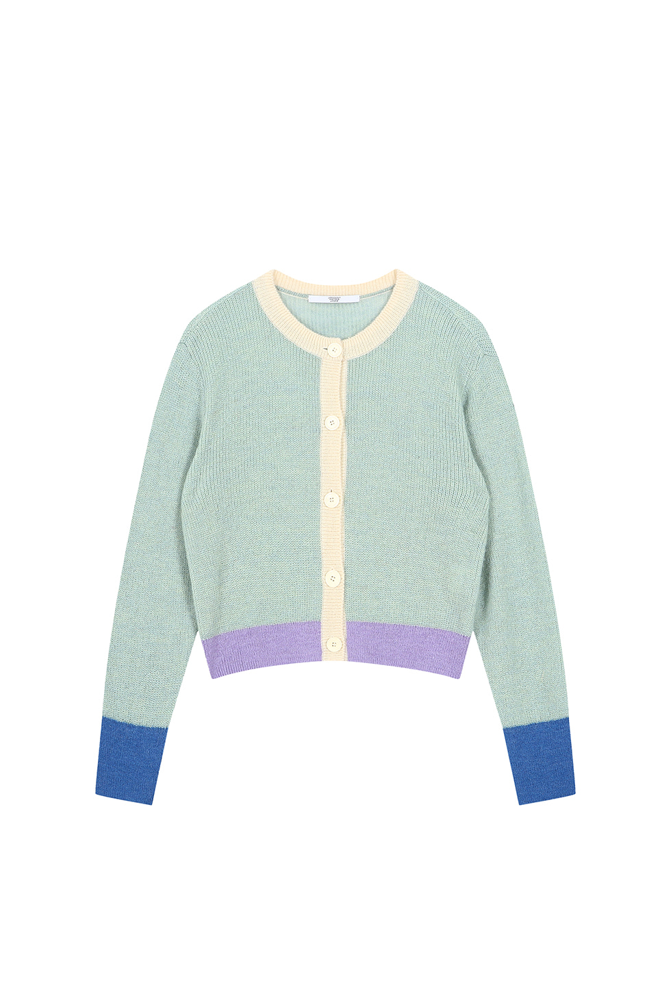SOFT COLOR BLOCK CARDIGAN - MINT