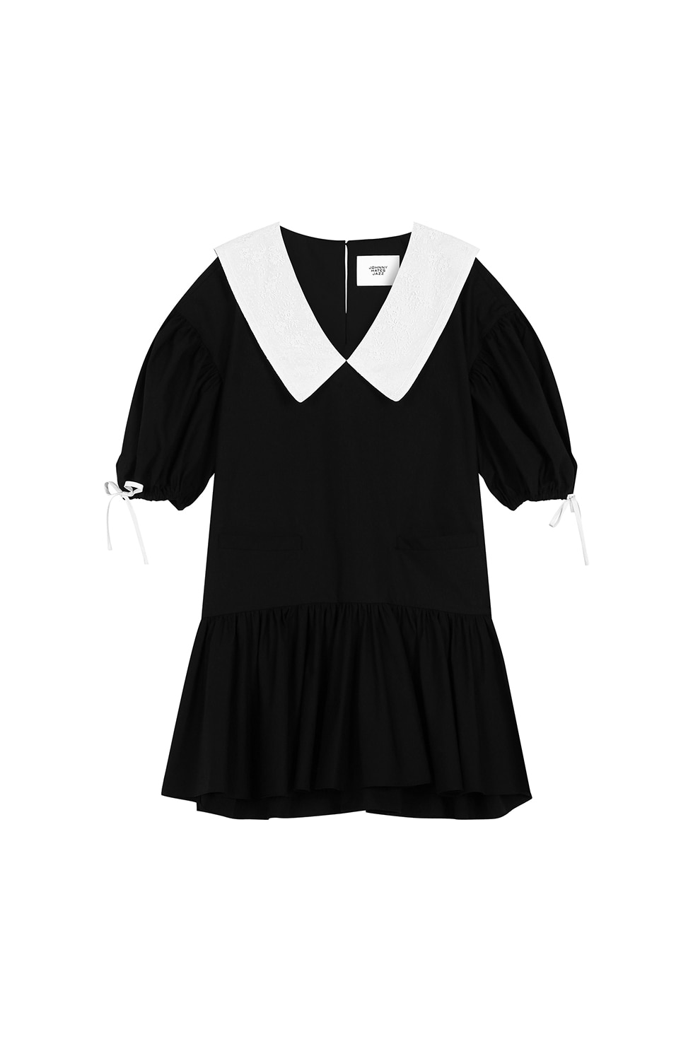 LACE COLLAR MINI-DOLL DRESS - BLACK
