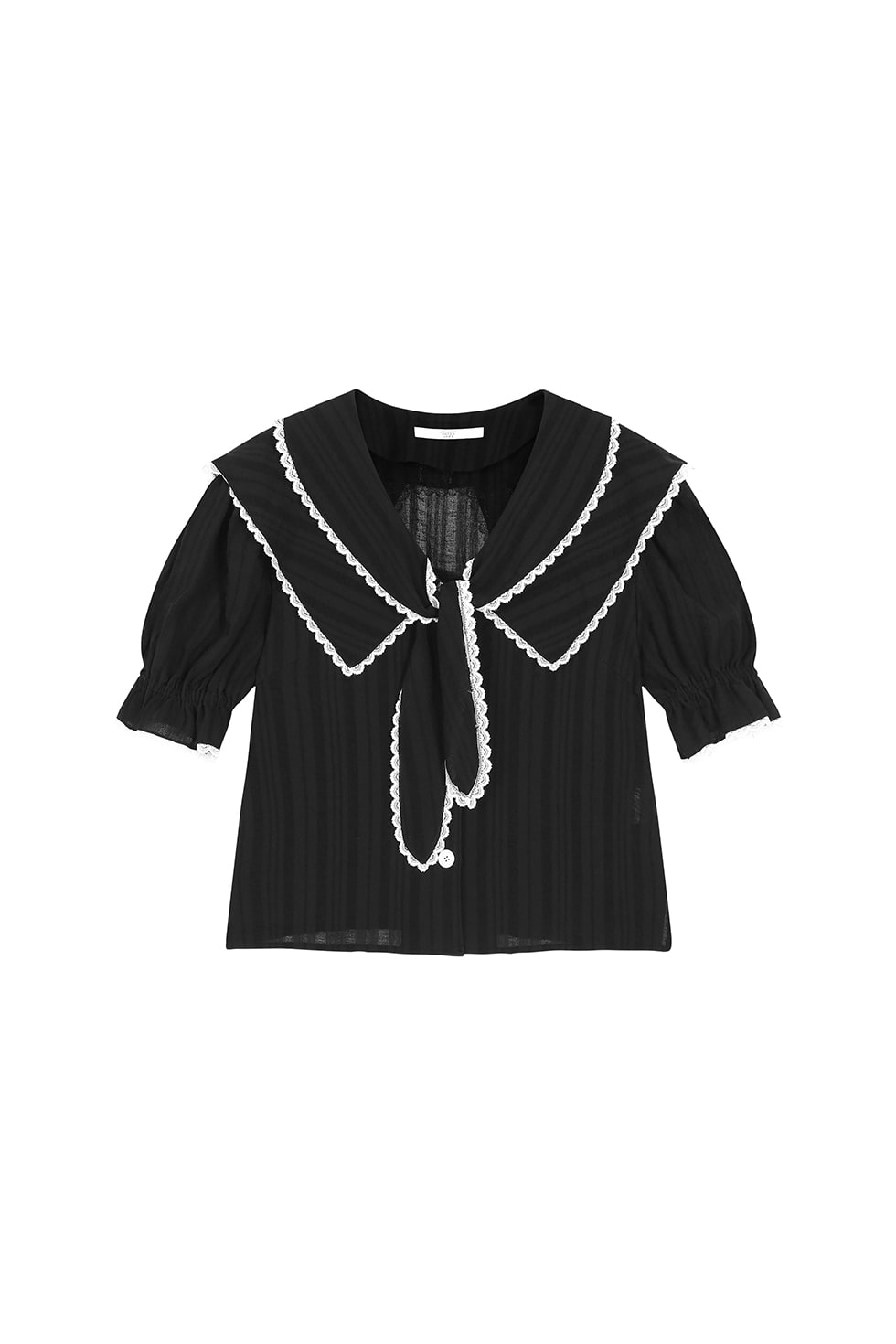 RIBBON TIE COTTON BLOUSE - BLACK