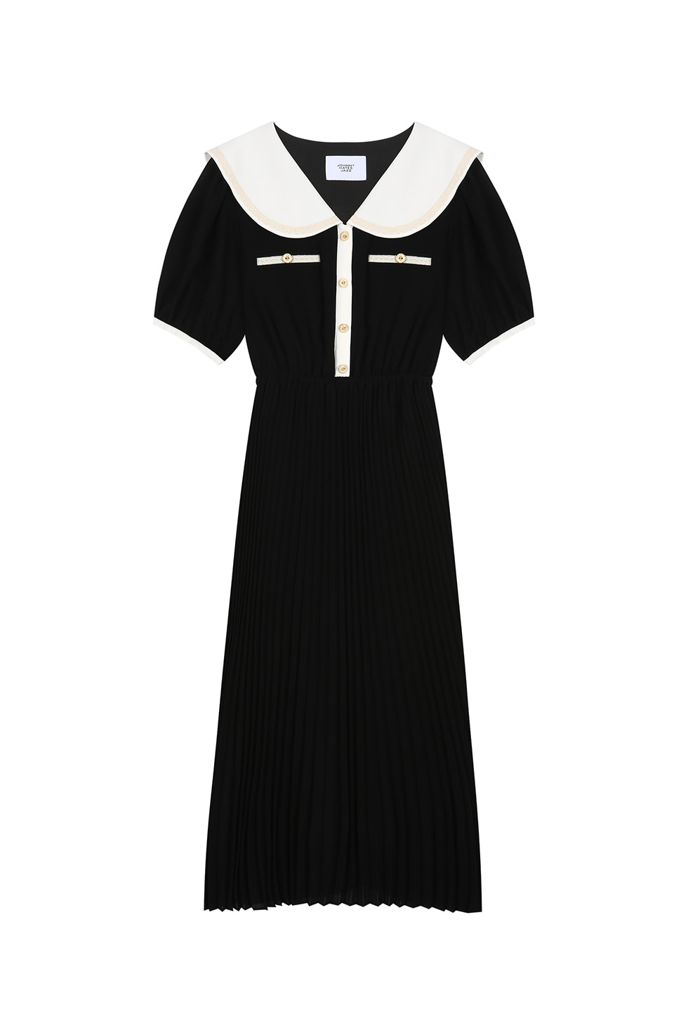 WIDE COLLAR CHIFFON DRESS - BLACK