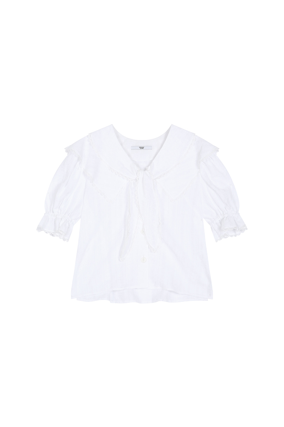 RIBBON TIE COTTON BLOUSE - WHITE