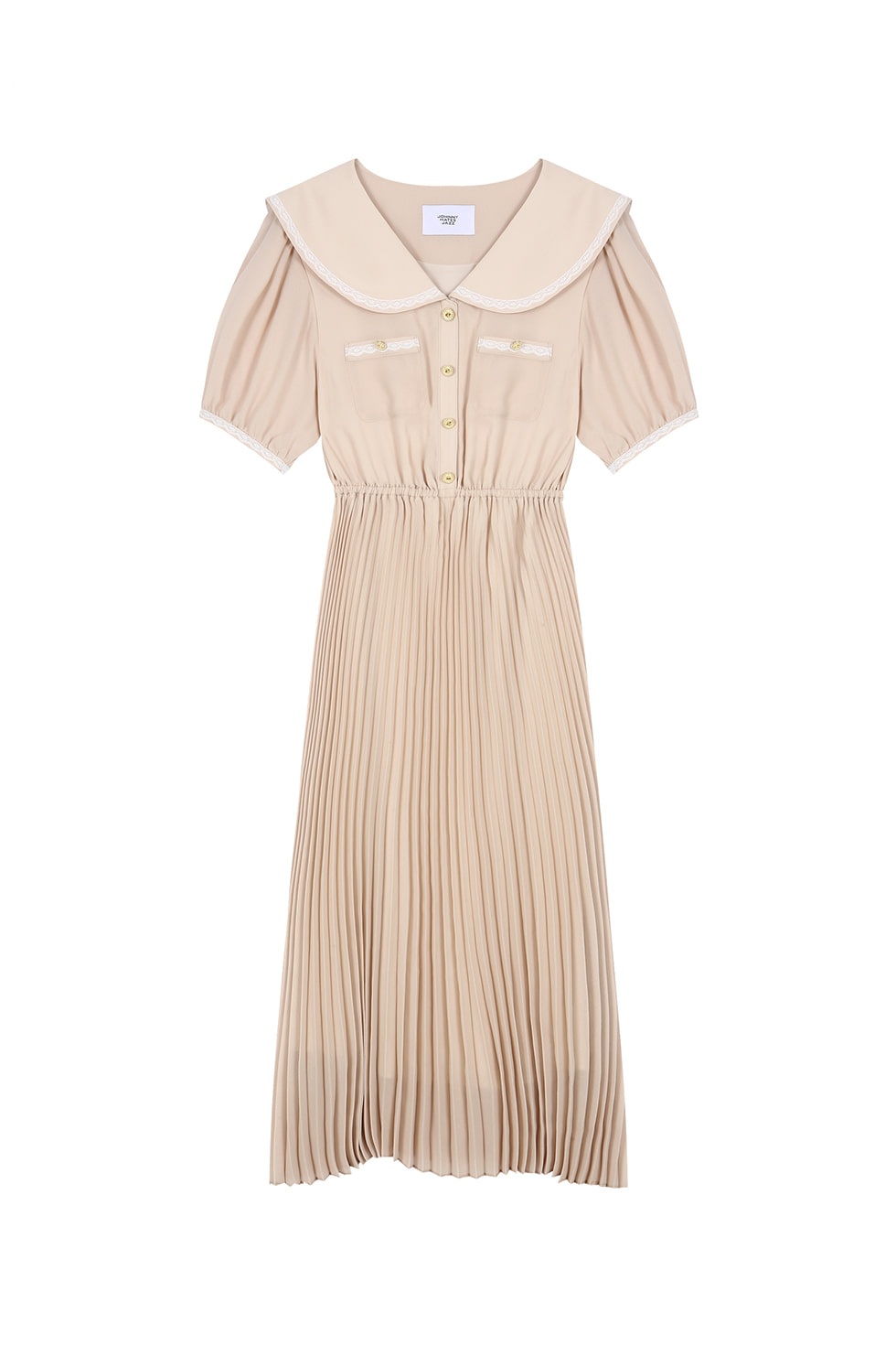 WIDE COLLAR CHIFFON DRESS - BEIGE