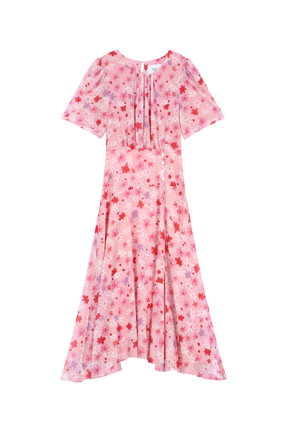 FLORAL PRINT SHIRRING DRESS - PINK